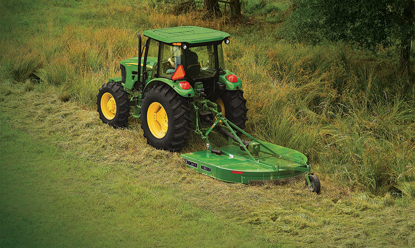 Keep rough areas in shape with a Frontier tractor mounted rotary cutter.