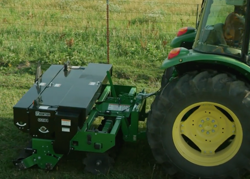 Restoring a pasture using a Frontier Overseeder.