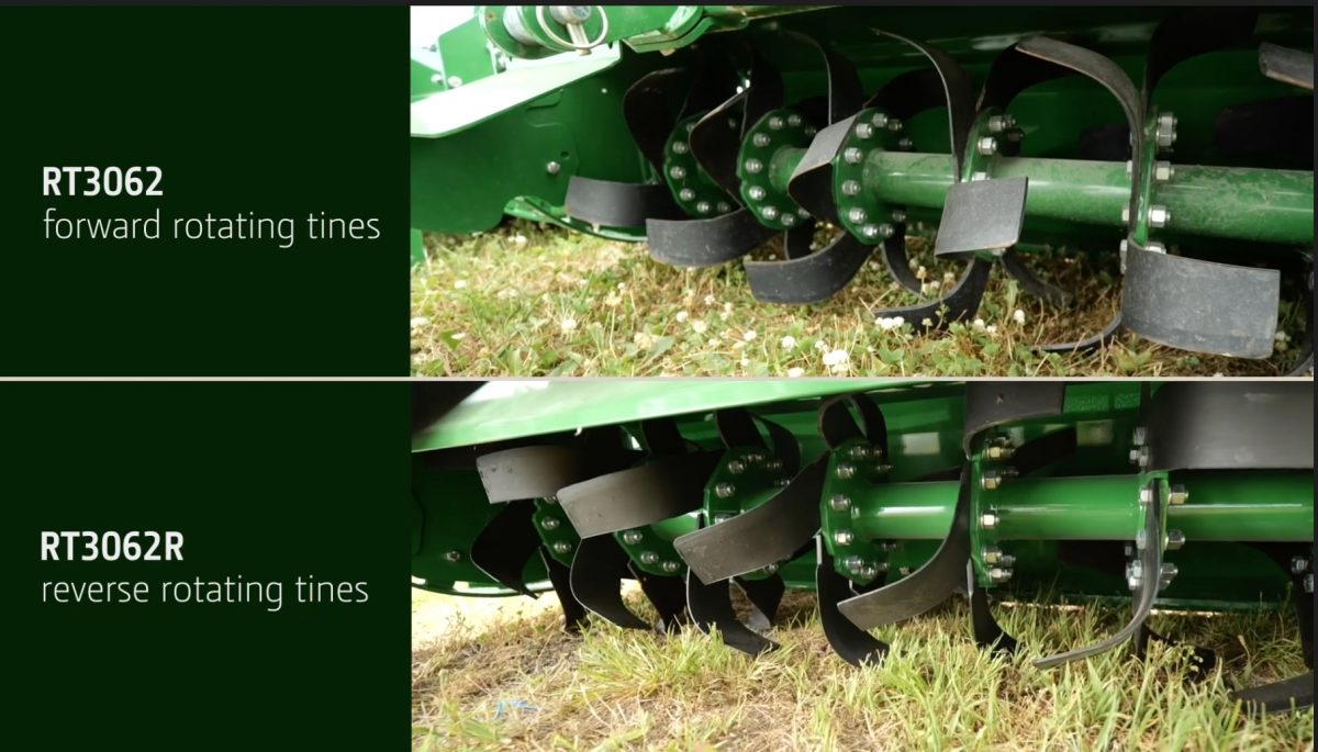 Learn about the difference between forward and reverse tine rotary tillers